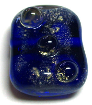 tab cobalt blue with gold dust and light amber dots